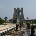 Nkrumah's mausoleum and his golden statue