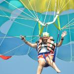 me parasailing on my own - just outside the hotel on the beach front.