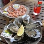 crevettes et huîtres