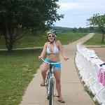 My niece riding one of the bikes on the bike trail at Trout Lodge