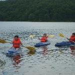 Some of the kids kayaking on Sunnen Lake