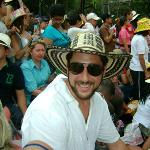 Noah sitting with Su Casa Colombia guests at the Medellin flower festival parade :)