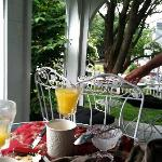 Breakfast on front porch