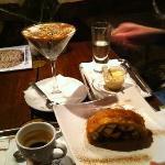 Espresso, White chocolate drink, and desserts