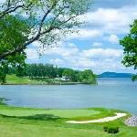 The view of Lake Otsego & our Leatherstocking Golf Course from The Hotel Veranda