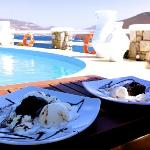 Chocolate souffle by the pool
