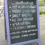 Board advertising the food offer