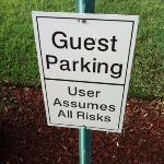 sign that greets you when you park