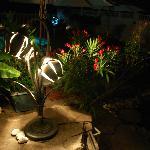 romantic lighting at poolside