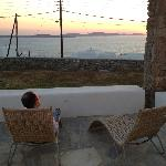 Watching the sunset over Delos Island from our Patio