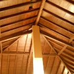 the wooden roof above the living area