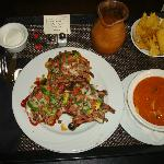 Individual steak nachos and tortilla soup