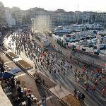 Marseille marathon from the hotel room