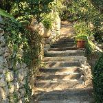 escalier d'accès aux chambres du bas et à la piscine