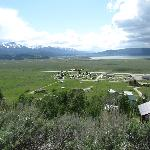 View of the campground from the road up the hill behind it