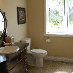 Bathroom is spacious and has an accessible shower