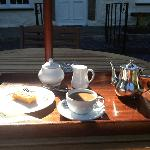 Afternoon coffee and homemade cake on the terrace