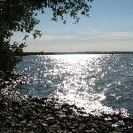 Afternoon view from the rocky lake shore