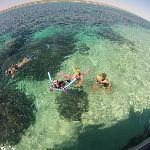 Family snorkelling from Ningaloo Ecology Cruises Exmouth glass bottom boat tours