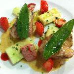 Durok Pork Tenderloin with Cucumber, Strawberries, Salvia & Gorgonzolla Sauce