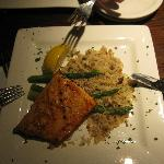 salmon grilled with rice pilaf