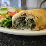 my favorite spinach pie and Greek salad