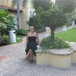 Pam on the grounds ont he way to dinner