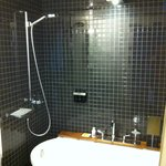 Small bathroom, shower was tricky, had to pull curtain all around or water wen