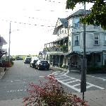 view of hotel (right) from pedestrian mall (heart of oak bluffs) ... ocean park and ocean beyoin
