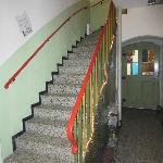 The entrance hall showing the stairs up to reception