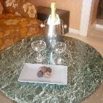 Complimentary sparkling wine and truffles