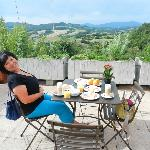 Breakfast on the terrace offering stunning panoramatic views