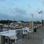 Marina and Lake House Waterfront Grille behind