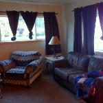 living room. also a flat screen & fireplace