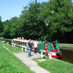 Disembarking from our narrow boat.