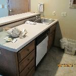 Kitchen sink area with dishwasher