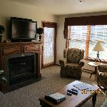 Fireplace, big screen TV, DVD player, and access to the balcony