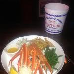 crab legs, green beans and cajun fries...