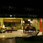 Living Room and kitchenette area at night