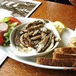 Deep fried whitebait (gluten free) with salad and bread (not gluten free)