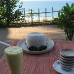 Breakfast overlooking the Arabic Sea on the Cliff Walk near Mango Villa.