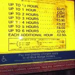 Parking prices for nearby car park