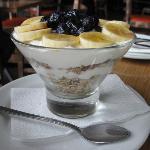 Breakfast yogurt and muesli