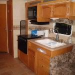 Kitchen area of RV Rental Site 213