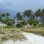 View of the hotel grounds from the beach