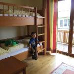 kids bunk bed room with a flat screen tv, everything was very nice