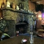Beautiful stone fireplace in 100 year old lodge