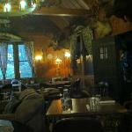 Sitting area and dining room in the redwood lodge