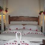 The pretty decoration of our bed by our brilliant housekeeper!
