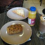 Hazelnut and chocolate croissant, apple turnover; mocha; OJ